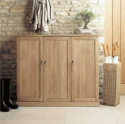 Fusion Solid Oak Wooden Hallway Furniture Extra Large Shoe Rack Cabinet Cupboard