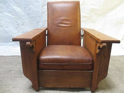Art Deco 'Foot & Sons' Oak and tan leather reclining armchair (ref 078)
