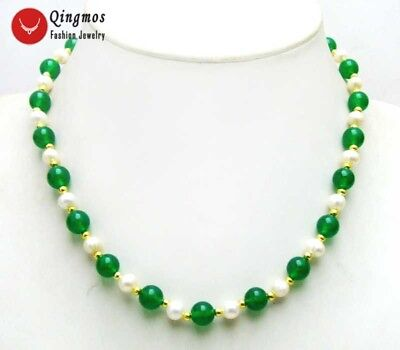 "SALE 6-7mm natural White FreshWater Pearl & 8mm Green Jade 18"" Necklace-com1016"