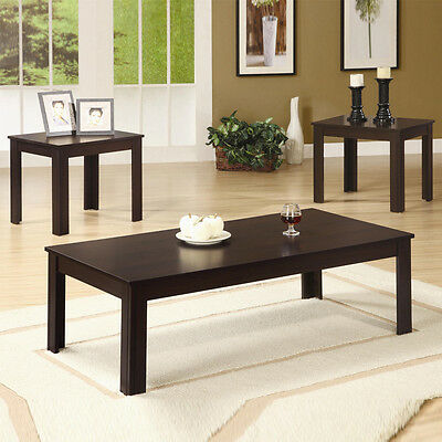 SIMPLE Classic 3 PC Casual Occasional Dark Walnut Coffee End Wood Table Set