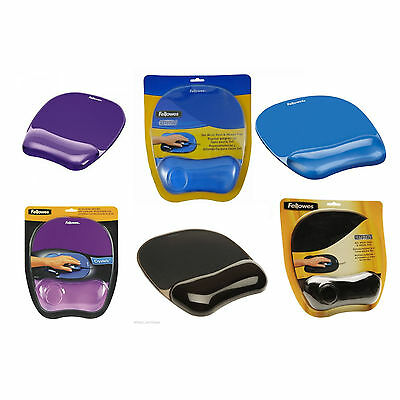 Fellowes Crystal Gel Mouse Mat Mousepad With Wrist Rest Support Black Or Blue
