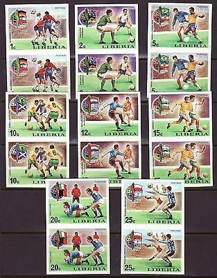 Liberia # 675-82 Complete IMPERF PAIRS MNH Football Socecr 1974 Munich Germany