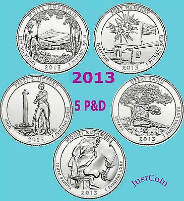 2013 All 5 P&D National Parks Quarters Set Uncirculated From Mint Rolls 10 Coins