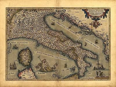 Ortelius Italy Northern Sardinia Sicily Corsica Reproduction Antique Map Print