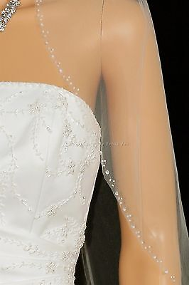1T Ivory Wedding Bridal Elbow Length Beaded Edge Veil