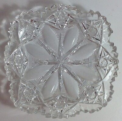 Antique ABP Signed Hawkes Cut Glass Low Bowl Flower Star Pattern Rare