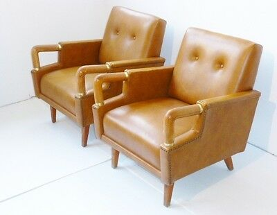 Superbe Paire De Fauteuils Club Fauves 1940-1950 Vintage Design 40S Rockabilly
