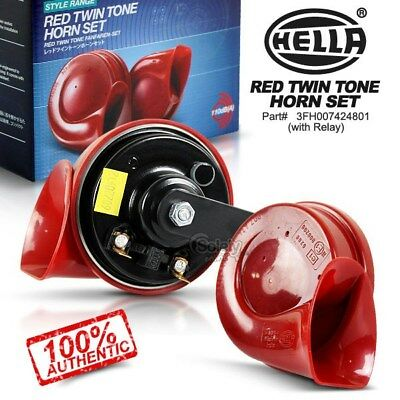 New & Genuine HELLA 12V Red Twin Tone Car Horn Set w Relay Ute 4x4 4WD SUV