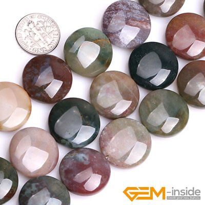 Natural Stone Indian Agate Coin Spacer Loose Beads For Jewelry Making Strand 15""