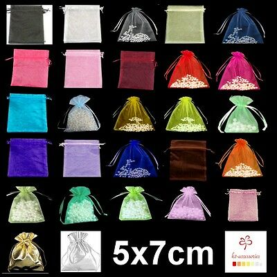 1, 10, 25, 50 or 100 Organza Bags / Jewellery Pouches - 5x7cm Various Colours UK