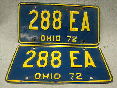 SET OF 2 MATCHING Vintage OHIO state license plates 1972 TAG NO. 288 EA