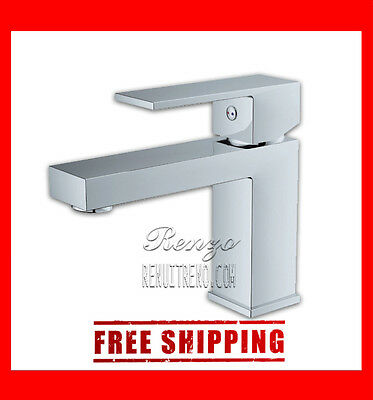 Contemporary Chrome Square Bathroom Brass Lavatory One Hole Faucet cUPC - BF102
