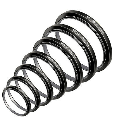 Filter Step Up Rings Set 49-52-55-58-62-67-72-77mm 7 Pcs 49mm-77mm Lens Hood