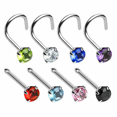 Round Gem Curved Nose Screw Pin Ring Stud Bone Piercing 316L Surgical Steel