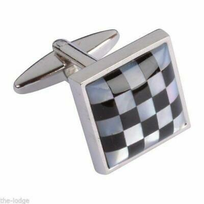 Mother of Pearl Chequered Rhodium Plated Masonic Cufflinks - LR235