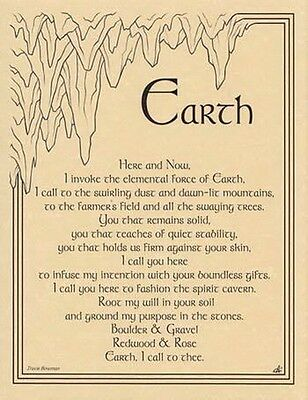 EARTH INVOCATION - POSTER A4 SIZE  Wicca Pagan Witch Goth BOOK OF SHADOWS
