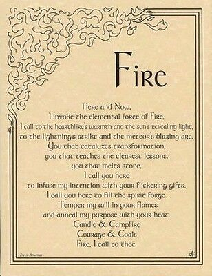 FIRE INVOCATION POSTER A4 SIZE Wicca Pagan Witch Goth Punk BOOK OF SHADOWS