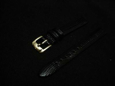 Ladies Speidel NOS 12mm R70248430BLK Black Gator Grain Leather Watch Band W540