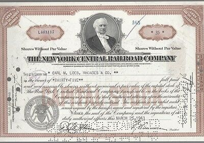 [41773] 1943 New York Central Railroad Company Stock Certificate (35 Shares)