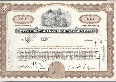 [41763] 1959 Western Maryland Railway Company Stock Certificate (100 Shares)