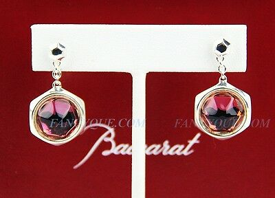 BACCARAT JEWELRY B MANIA STERLING SILVER PINK MORDORE STEM EARRINGS CRYSTAL NEW