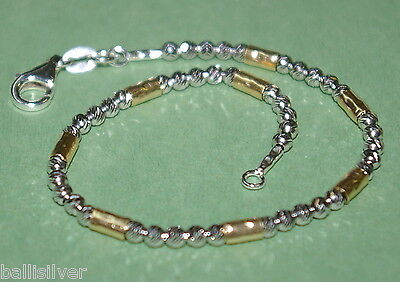 6 pcs Sterling Silver 925 Beads & 14kt Gold Filled Tubes Two Tone BRACELETS Lot