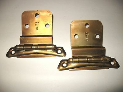 "Vtg NOS Satin BRONZE HINGES for 3/8"" Inset Cabinet Doors Art Deco Washington"