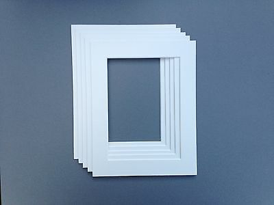 9 x 7 Inch to fit 6 x 4 White Photo & Picture Mounts - 5 PACK