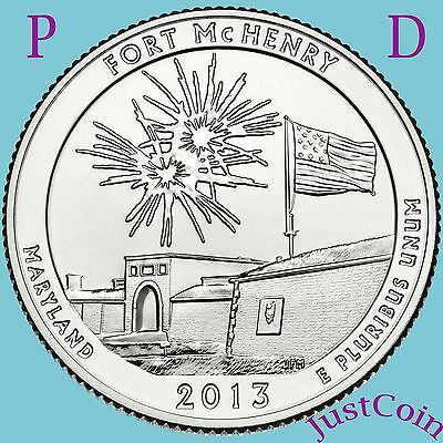 2013 P&D FORT McHENRY MARYLAND QUARTERS TWO COIN SET UNCIRCULATED FROM MINT ROLL