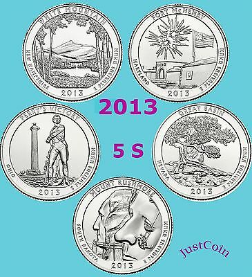 2013-S Five National Parks Quarters Set Uncirculated From Mint Rolls 5 Quarters