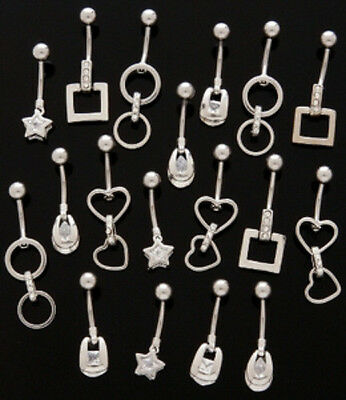 B#192 - 12pc Vogue Clear Gem Belly Rings Navel naval