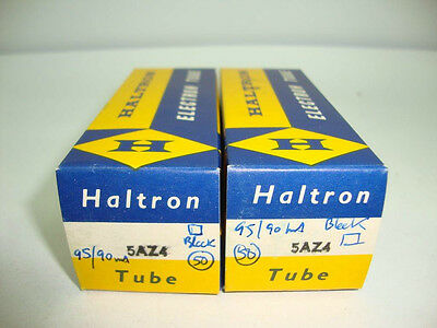 2 x 5AZ4 HALTRON BRITISH TUBES. NOS/NIB. MATCHED PAIR. SQUARE GETTER, BLACK PLAT