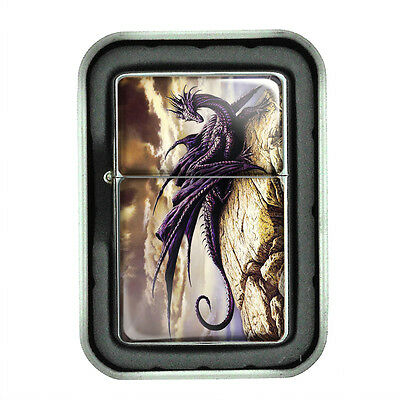 Windproof Refillable Oil Lighter with Gift Box Dragon Design-007 Custom Medieval