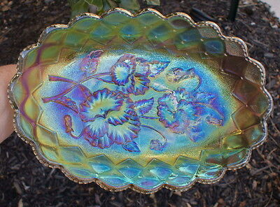 Original Imperial Electric Clambroth Carnival Glass Pickle Dish