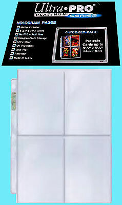 "50 ULTRA PRO PLATINUM 4-POCKET Pages NEW Sheets Protectors Holo 3-1/2"" x 5-1/4"""