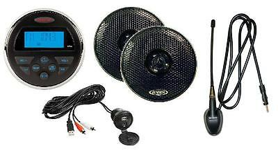 "Jensen MS30 Waterproof 80W Radio Speakers 6"" Antenna AM/FM iPod MP3 USB ATV Boat"