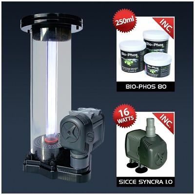 Aquatek Bio-Phos 80 Phosphate Reactor + Pump Media Merine Reef Fish Tank Fresh