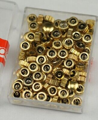 100x Watch crowns yellow gold spares repairs mixed replace part watchmakers