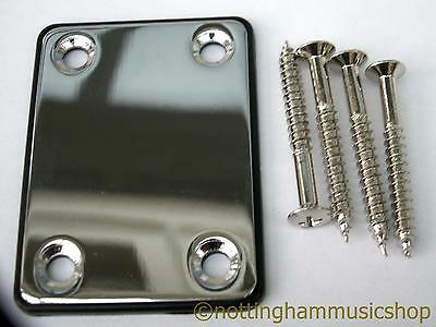 Electric Guitar Chrome Plated Steel Neck Plate + Black Cushion + Screws St Tl