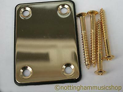 Electric guitar gold plated steel neck plate + black cushion + screws ST TL
