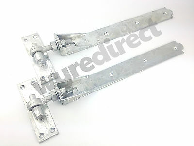 "Adjustable Gate Hinges Pair 450mm 18"" Galvanised Heavy Duty Hook And Band Stable"