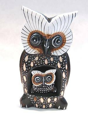"""Wooden Owl Mom Baby Hand Carved Wood Bali Home Decor Sculpture 8"""" #1618"""