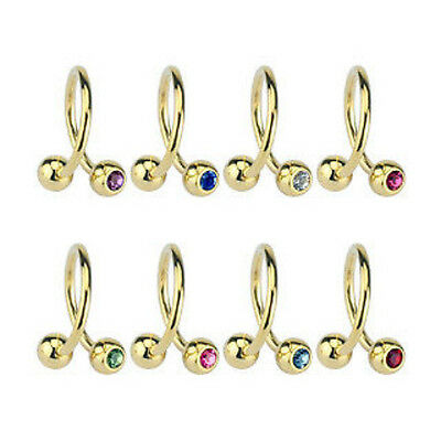 B#254 - 8pcs Gold Plated Spiral Gem Belly Rings Navel naval