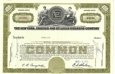 [41917] 1959 New York, Chicago & St. Louis Railroad Company Stock Certificate