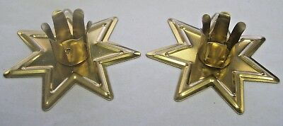 """Pair Gold Fairy Star Chime Candle Holders - 1/2"""" Diameter Candles (Altar Spell)"""