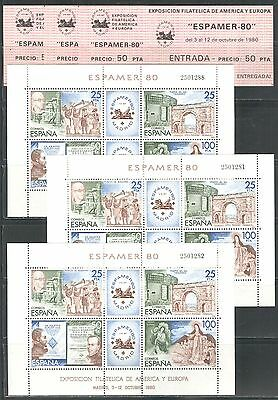 MUSICIANS, ROMAN ARCH, STATUES, ESPAMER '80 ON SPAIN 1980 Sc 2219 MNH LOT OF 3