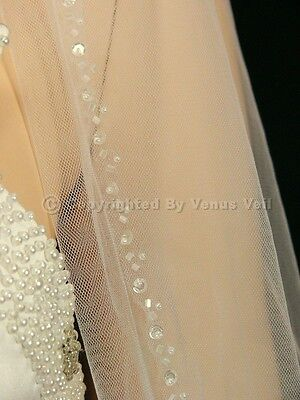 1T Ivory Wedding Bridal Fingertip Length Beaded Edge Veil