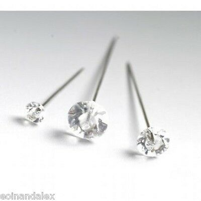 "100 Diamante Diamonte pins Wedding, Buttonholes Bouquet 4cm / 1.5"", Florist Work"