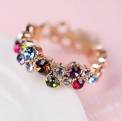 18K GOLD Filled Multi Color Wedding Engagement Ring SWAROVSKI Crystal Size 6 - 9