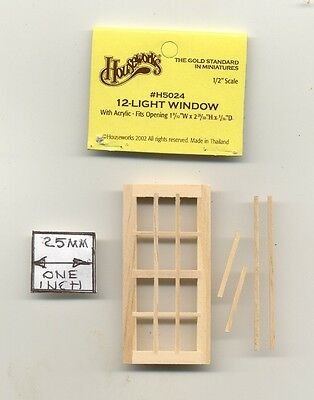 4-Light Pane  1:24 Dollhouse wooden H5004 Houseworks G Scale Half Scale Window
